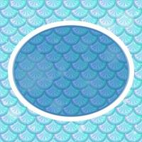 Oval frame template on blue fish scales background vector