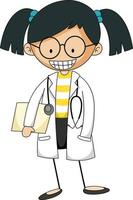 Little scientist doodle cartoon character isolated vector