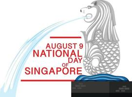 August 9th National Day of Singapore banner with vector