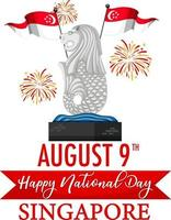Singapore National Day banner with Merlion landmark of Singapore vector