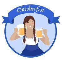Oktoberfest girl with beer mugs. Beautiful young woman in bavarian dress dirndl. Vector flat illustration