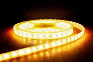 LED ice tape warm light, a coil of diode light  closeup photo