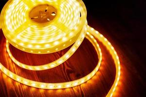 LED ice tape warm light, a coil of diode light  close-up photo