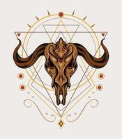 Mythical Goat heat with Celtic ornament, Illustration template for tattoo, t shirt, clothing apparel. vector