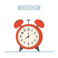despertador rojo tiempo por la mañana aislado en el fondo. colorido color brillante. Ilustración de vector de elemento de diseño.