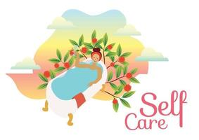 self care be kind to yourself concept vector