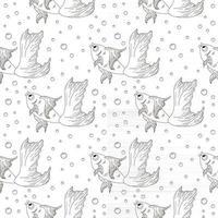 Line Art Goldfish Seamless Pattern vector