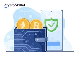 Crypto wallet vector illustration with mobile smartphone. Digital Wallet technology for cryptocurrency bitcoin. Wallet connected to mobile phone.