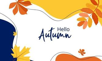 Autumn colorful abstract background in yellow and red colors with leaves vector