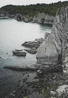 Rocks on the beach in the coast in Bilbao Spain photo