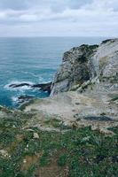 Cliff and beach in the coast in Bilbao Spain travel destinations photo