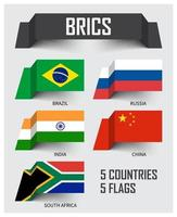 BRICS . Association of 5 contries . Brazil Russia India China South africa . Floating paper flags design . Vector .