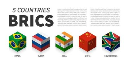 BRICS flag . Association of 5 countries . 3D cubic isometric top design . Vector