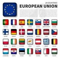 European union  EU  and membership flag . Association of 28 countries . Round angle shiny square button and europe map background . Vector .