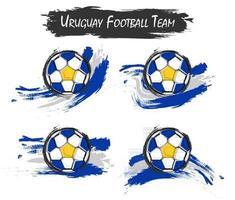 conjunto de símbolo de la selección de fútbol de uruguay sobre fondo aislado. estilo de pintura de acuarela. diseño plano . vector para la copa del torneo del campeonato mundial internacional 2018.