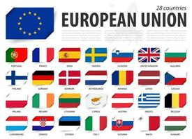 European union . EU flag and country membership . And europe map on background . Inserted paper flags design . Vector .