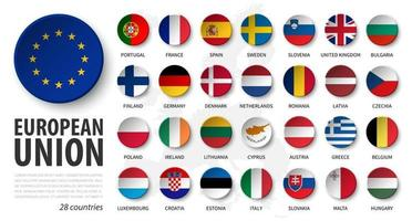 European union . EU and membership flags . 3D sink circle button element design . White isolated background and europe map . Vector .