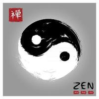 Yin and yang circle symbol . Sumi e style and ink watercolor painting design . Red square stamp with kanji calligraphy  Chinese . Japanese  alphabet translation meaning zen . Vector illustration .