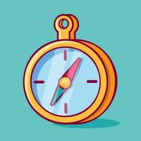 magnetic compass isolated cartoon illustration in outline flat style vector