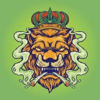 Lion King Smoke Weed Mascot Illustrations vector