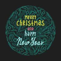 Merry Christmas and Happy New Year greeting card. vector