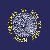 Merry Christmas greeting card. Hand drawn vector holiday