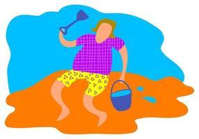 divertido en la playa vector