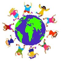 Happy Diverse Globe Kids vector