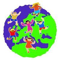 Diverse European World Kids vector