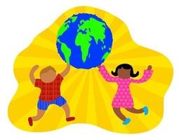Happy Sunshine World Kids vector