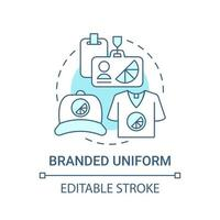 Branded uniform concept icon. Corporate branding material abstract idea thin line illustration. Promotional corporate apparel. Company clothing. Vector isolated outline color drawing. Editable stroke