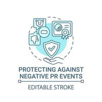 Protecting against negative PR events concept icon. Strong brand abstract idea thin line illustration. Creating response plan. Crisis management. Vector isolated outline color drawing. Editable stroke