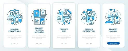 Corporate identity items onboarding mobile app page screen with concepts. Branded bags, pens walkthrough 5 steps graphic instructions. UI, UX, GUI vector template with linear color illustrations