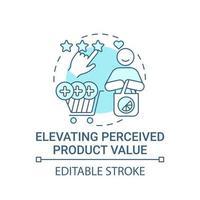 elevar el icono del concepto de valor percibido del producto. Ilustración de línea fina de idea abstracta de marca fuerte. publicidad de marca. mérito de bienes, deseabilidad. dibujo de color de contorno aislado vectorial. trazo editable vector