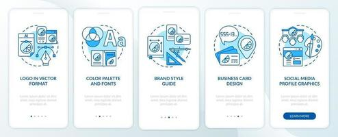 Branding services onboarding mobile app page screen with concepts. Logo in vector format walkthrough 5 steps graphic instructions. UI, UX, GUI vector template with linear color illustrations