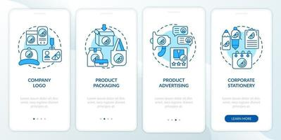 Brand touchpoints onboarding mobile app page screen with concepts. Logo, packaging walkthrough 4 steps graphic instructions. UI, UX, GUI vector template with linear color illustrations