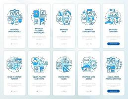 Corporate branding onboarding mobile app page screen with concepts set. Increasing recognition walkthrough 5 steps graphic instructions. UI, UX, GUI vector template with linear color illustrations