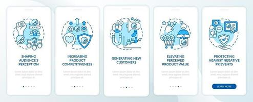 Strong brand identity onboarding mobile app page screen with concepts. Shaping audience perception walkthrough 5 steps graphic instructions. UI, UX, GUI vector template with linear color illustrations