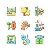 Actividades de campamento de verano conjunto de iconos de colores rgb. voleibol de playa. ping pong. tiro al arco. paseos a caballo. ilustraciones vectoriales aisladas. entrenamiento de salvavidas colección de dibujos de líneas rellenas simples vector