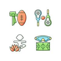 Summer camp activities RGB color icons set. Flag football. Lacrosse. Kids yoga. Water polo. Body workout. Isolated vector illustrations. Non-contact sport simple filled line drawings collection