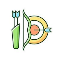 Archery RGB color icon. Using bow to shoot arrows. Hunting and recreational activity. Hitting target from distance. Isolated vector illustration. Competitive sport simple filled line drawing