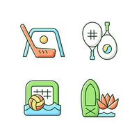 Summer camp activities RGB color icons set. Street hockey. Racket sport. Beach soccer. Stand up paddle board yoga. Isolated vector illustrations. Outdoor game simple filled line drawings collection