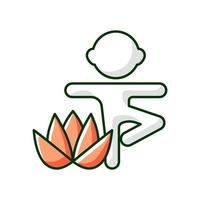 Kids yoga RGB color icon. Enhancing children mindfulness, concentration. Breathing techniques. Isolated vector illustration. Mental and physical wellbeing simple filled line drawing