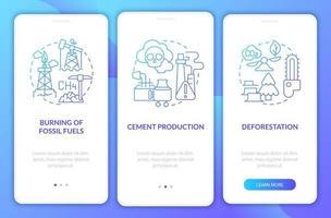 Human co2 lanza la pantalla de la página de la aplicación móvil incorporada con conceptos. Tutorial del proceso de deforestación Instrucciones gráficas de 3 pasos. ui, ux, plantilla de vector de interfaz gráfica de usuario con ilustraciones en color lineal
