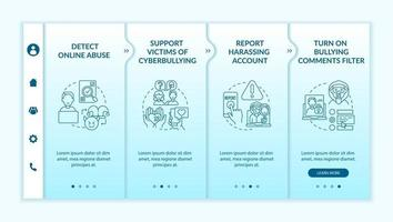 Cyberharassment prevention steps onboarding vector template. Responsive mobile website with icons. Web page walkthrough 4 step screens. Report harassing account color concept with linear illustrations