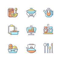 Conjunto de iconos de colores rgb de vajilla de moda. ilustraciones vectoriales aisladas. menaje de cocina especialmente diseñado. tenedores, cuchillos y cucharas para cenar. canasta de pan para el hogar colección de dibujos de líneas llenas simples vector