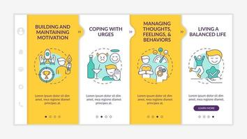 Addiction recovery steps onboarding vector template. Responsive mobile website with icons. Web page walkthrough 4 step screens. Maintaining motivation color concept with linear illustrations