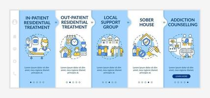 Rehabilitation types onboarding vector template. Responsive mobile website with icons. Web page walkthrough 5 step screens. In patient residential treatment color concept with linear illustrations