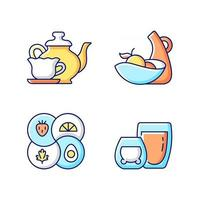 Trendy kitchenware RGB color icons set. Isolated vector illustrations. Sectional plate and divided dish. Double glass cups for hot tea. Vintage style tableware simple filled line drawings collection