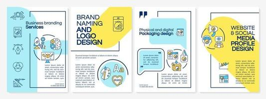 Business branding services brochure template. Brand style. Flyer, booklet, leaflet print, cover design with linear icons. Vector layouts for presentation, annual reports, advertisement pages